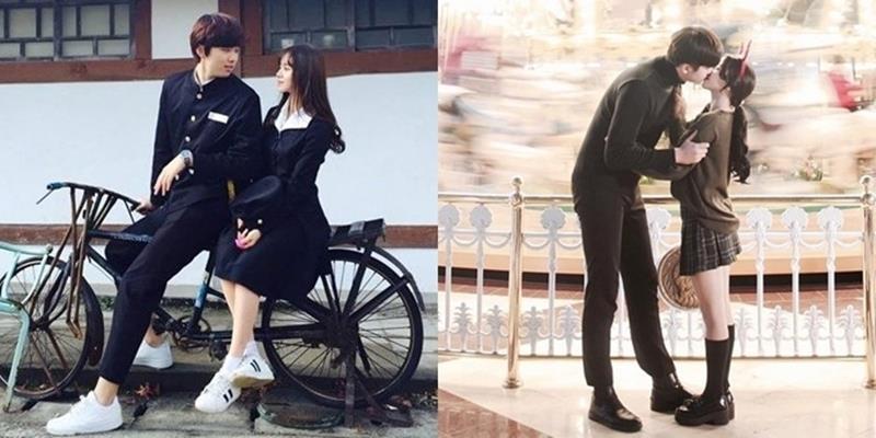 """Cặp """"đũa lệch"""" xứ Hàn bỗng nổi tiếng nhờ những bức ảnh lãng mạn"""