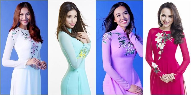 Phạm Hương cùng dàn Hoa hậu Việt đồng loạt khoe sắc với áo dài