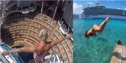 'Đứng tim' với màn nhảy cầu xuống bể bơi sâu nhất thế giới