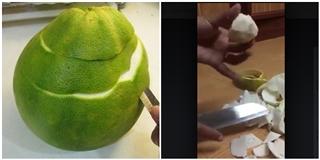 Clip gọt trái  bưởi siêu cùi  khiến bạn xem xong chỉ muốn  lạc trôi