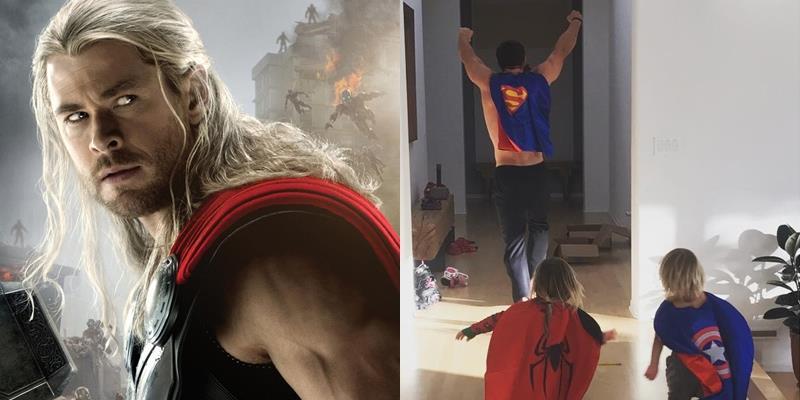 Chết cười Thần Sấm Chris Hemsworth mặc đồ Siêu Nhân chơi với con