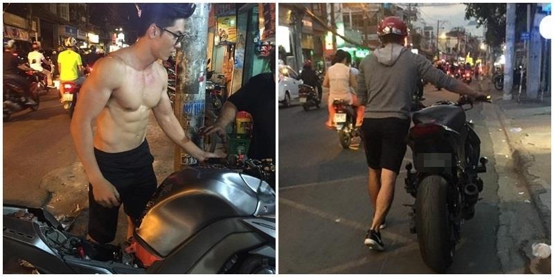"""Anh chàng cởi trần khoe 6 múi, dắt xe """"khủng"""" giữa đường phố Sài Gòn"""