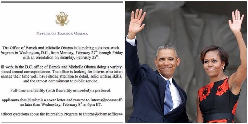 Vợ chồng ông Obama đang tuyển thực tập sinh đấy, bạn có biết?