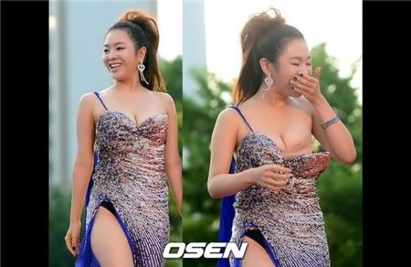 Gây náo loạn nhất là khi Yeo Min Jung bỗng nhiên bị tụt váy.