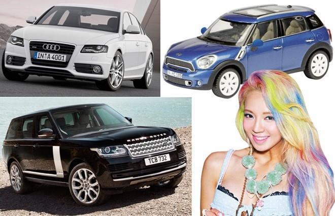 Hyoyeon có lẽ là thành viên sở hữu nhiều xe và thuộc nhiều thể loại nhất của SNSD. Cô nàng là chủ nhân của 1 chiếc Audi A4, Mini Cooper và cả Range Rover.