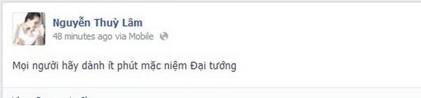 Khắc Việt vừa thể hiện sự nổi giận với những người thiếu ý thức, thiếu sự tôn trọng dành cho Đại tướng, vừa thể hiện sự thương tiếc dành cho ông.  Hoa hậuThùy Lâm - Tin sao Viet - Tin tuc sao Viet - Scandal sao Viet - Tin tuc cua Sao - Tin cua Sao