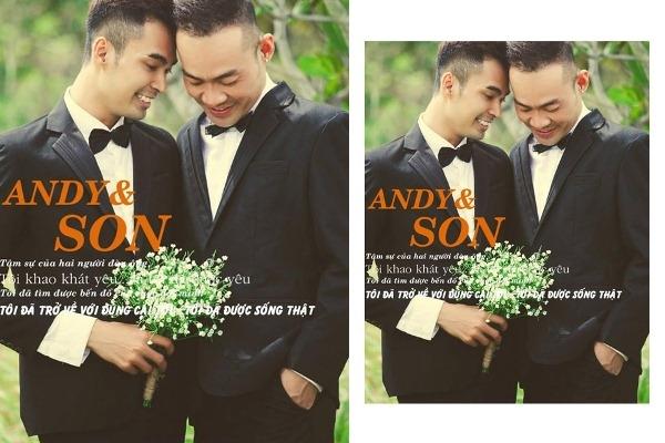 Ngây ngất ảnh cưới đầy hạnh phúc của cặp đôi đồng tính nam