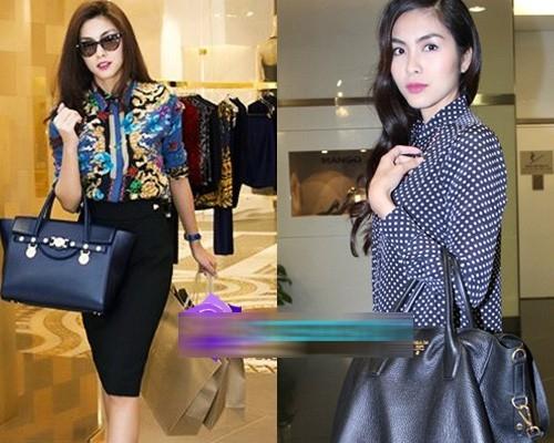 Chiếc túi Prada (phải) và Versace (trái) của Hà Tăng đều có giá trên 50 triệu đồng. - Tin sao Viet - Tin tuc sao Viet - Scandal sao Viet - Tin tuc cua Sao - Tin cua Sao
