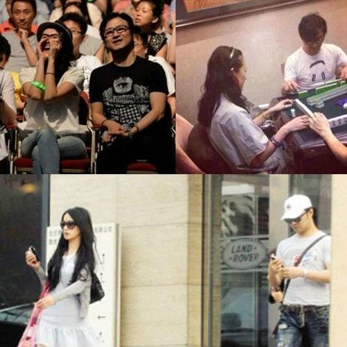 Chương Tử Di và Uông Phong cùng xem ca nhạc (trái), chơi mạt chược (phải) và tại Bắc Kinh.