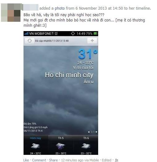 Tin bão đổ bộ vào Sài Gòn ngập tràn cộng đồng mạng