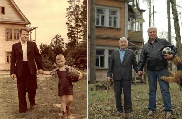 Dù thời gian có trôi qua thế nào, thì tình cảm gia đình luôn là những điều vô giá không bao giờ thay đổi. Hình ảnh của hai cha con sau 60 năm (1949 – 2009)