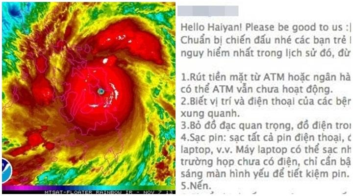 Cư dân mạng truyền tay bí kíp tránh siêu bão Haiyan