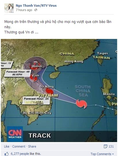Ngô Thanh Vân cũng cầu nguyện cho cơn bão kinh khủng này mau tan.