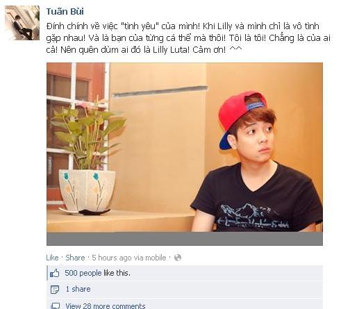 Việc Bùi Anh Tuấn bất ngờ phủ nhận từng yêu Lilly Luta đã nhận được sự quan tâm của cộng đồng facebooker - Tin sao Viet - Tin tuc sao Viet - Scandal sao Viet - Tin tuc cua Sao - Tin cua Sao