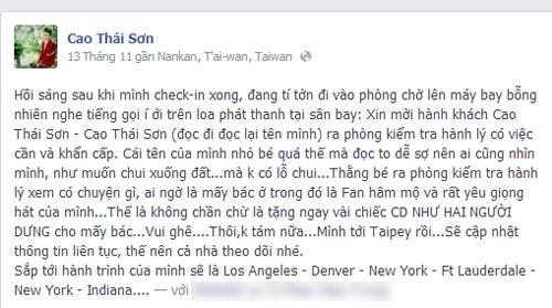 Những thông tin Cao Thái Sơn chia sẻ trên Facebook - Tin sao Viet - Tin tuc sao Viet - Scandal sao Viet - Tin tuc cua Sao - Tin cua Sao