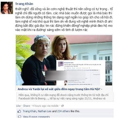 Status mới nhất của Trang Trần thẳng thừng vỗ mặt Andrea và Yanbi - Tin sao Viet - Tin tuc sao Viet - Scandal sao Viet - Tin tuc cua Sao - Tin cua Sao