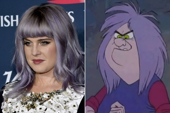 Gương mặt bầu bầu cùng mái tóc nhuộm màu tím nhạt của Kelly Osbourne khiến cô trông không khác Mad Madam Mim trong bộ phim The Sword in the Stone (Thanh gươm trong đá).