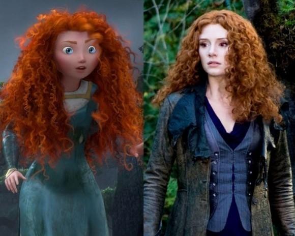 Công chúa tóc xù Merida trong bộ phim Brave và nhân vật Victoria của nữ diễn viên Bryce Dallas Howard trong phim The Twilight Saga.