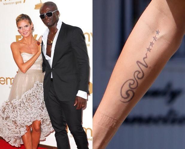 Siêu mẫu người Đức Heidi Klum từng có một hình xăm trên cánh tay phải tượng trưng cho Seal và 4 đứa con. Dĩ nhiên, sau khi đường ai nấy đi hồi đầu năm 2012, hình xăm này cũng được can thiệp để mờ dần.
