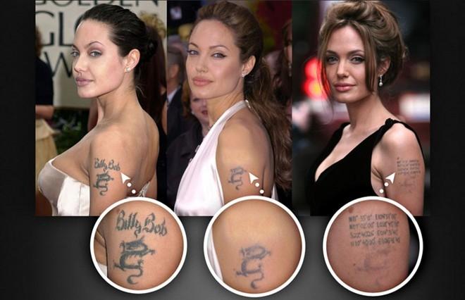 Angelina Jolie từng xăm tên chồng cũ - Billy Bob Thornton - lên cánh tay trái. Tuy nhiên, sau khi chia tay, hình xăm này đã được thay thế bằng hình xăm vị trí địa lý nơi sinh của những đứa con và cả Brad Pitt.