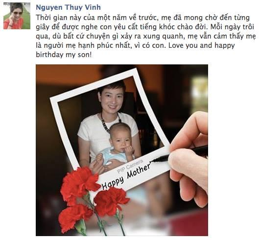Thúy Vinh mừng sinh nhật cậu con trai yêu quý của mình bằng những câu chữ vô cùng cảm động.