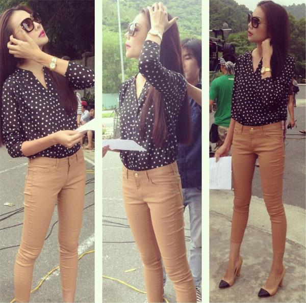 Với vóc dáng chuẩn của một người mẫu dù ở phong cách thời trang nào Thanh Hằng cũng thật xinh đẹp và cuốn hút.