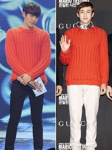 Kim Woo Bin diện chiếc áo len đan màu cam này trong chương trình M!Countdown, còn Nichkhun thì mặc trong một buổi tiệc gần đây. Trong khi Kim Woo Bin chỉ kết hợp đơn giản chiếc áo hiệu Gucci này với gần jean skinny đen để khoe chân dài thì Nichkhun lại theo phong cách lãng mạn khi kết hợp cùng khăn choàng cổ và quần trắng.