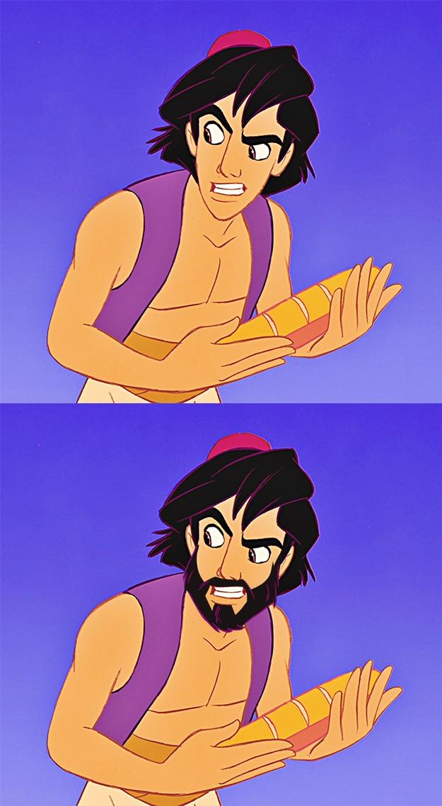 """Hài hước, độc đáo với chùm ảnh """"có và không có râu"""" của những người đàn ông trong Disney"""