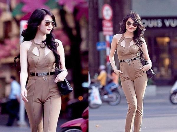 """Những mẫu jumpsuit với phần eo và hông ôm sát làm Ngọc Trinh trở nên xấu đi bởi độ """"nhăn nhúm"""" ở phần nhạy cảm mỗi khi di chuyển - Tin sao Viet - Tin tuc sao Viet - Scandal sao Viet - Tin tuc cua Sao - Tin cua Sao"""