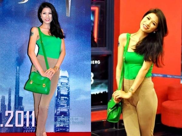 Dù mặc trang phục khá kín đáo nhưng Trang Trần lại bị lộ phần nhạy cảm trên cơ thể vì quần bó. - Tin sao Viet - Tin tuc sao Viet - Scandal sao Viet - Tin tuc cua Sao - Tin cua Sao