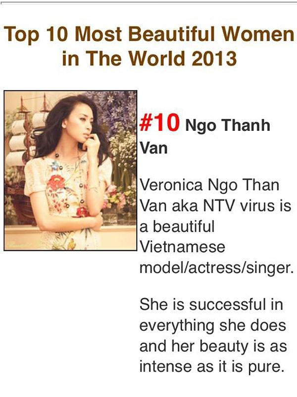 Thông tin theo đường dẫn Ngô Thanh Vân chia sẻ về Top 10 người phụ nữ đẹp nhất thế giới năm 2013. - Tin sao Viet - Tin tuc sao Viet - Scandal sao Viet - Tin tuc cua Sao - Tin cua Sao
