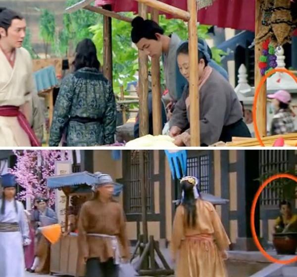 Trong bộ phim hài cổ trang Thiên thiên hữu hỉ cũng xuất hiện người hiện đại trong cảnh quay ở chợ.