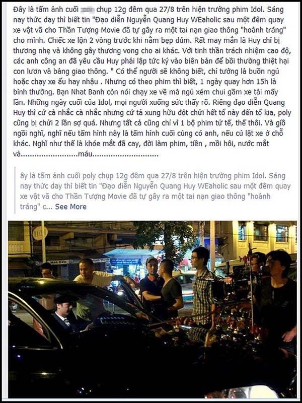 Đạo diễn Quang Huy cũng từng bị một tai nạn lật xe do quá mệt mỏi trong giai đoạn quay phim Thần tượng. - Tin sao Viet - Tin tuc sao Viet - Scandal sao Viet - Tin tuc cua Sao - Tin cua Sao