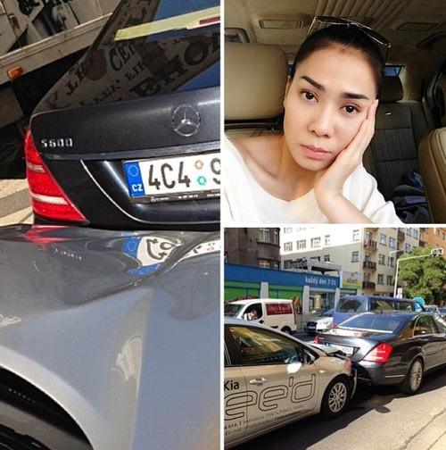 Vợ chồng ca sĩ Thu Minh cũng bị một phen hú vía khi bị một chiếc xe tông từ phía sau lúc xe của cô đang dừng đợi đèn đỏ. Vụ tai nạn xảy ra tại châu Âu khi cô theo chồng đi công tác. - Tin sao Viet - Tin tuc sao Viet - Scandal sao Viet - Tin tuc cua Sao - Tin cua Sao