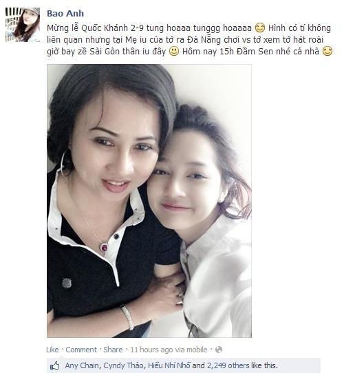 Bảo Anh hạnh phúc khoe mẹ với fan trên trang cá nhân