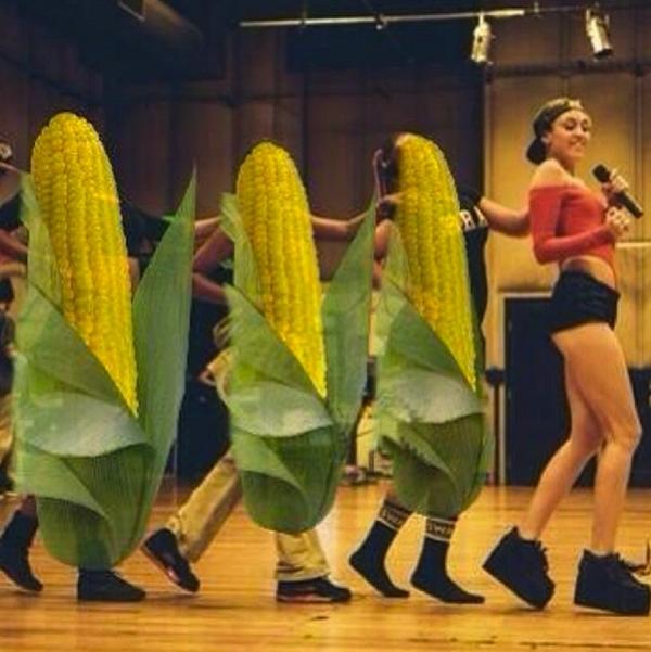 Miley Cyrus với điệu nhảy cùng với dàn bắp của mình