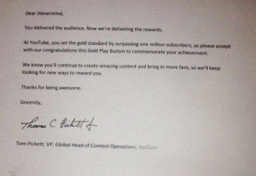 Thư ngỏ Youtube gửi cho JVevermind nói về lý do trao thưởng.