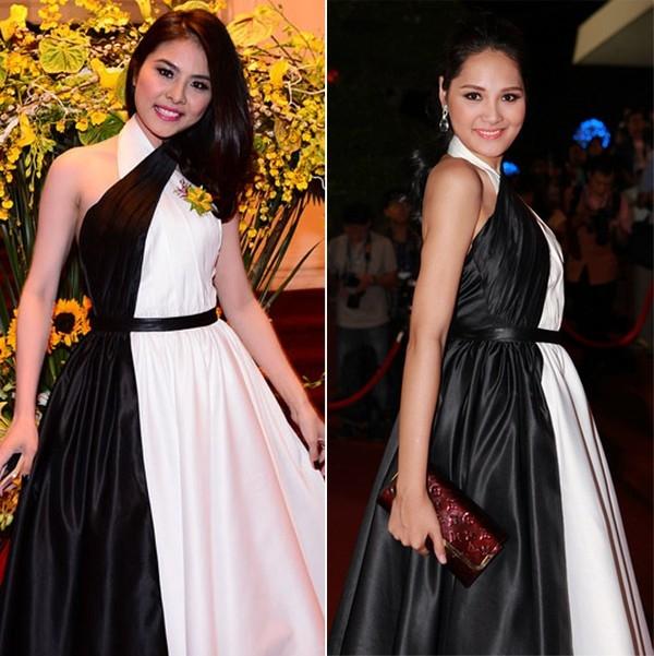 Diện cùng trang phục, trông Hương Giang trẻ trung chẳng kém gì Vân Trang. Cả hai đều được đánh giá cao với chiếc đầm này.