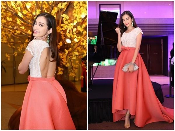 Trong một sự kiện trọng đại, Trúc Diễm lọt Top sao mặc đẹp và nổi bật nhất với trang phục gồm áo ôm sát màu trắng phối ăn ý với chân váy mullet màu cam. Được biết, đây là tác phẩm của NTK Chung Thanh Phong.