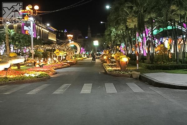 Đường hoa Nguyễn Huệ rực rỡ về đêm trước giờ khai mạc