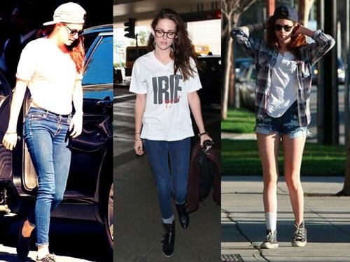 Ngoại trừ các sự kiện thảm đỏ, những món đồ yêu thích của Kristen Stewart là áo phông, quần bò, giày thể thao, mũ lưỡi trai đội ngược.