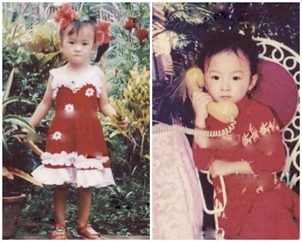 Angela Phương Trinh đã được mẹ làm đẹp và biết tạo dáng chụp ảnh Tết khi còn rất bé.