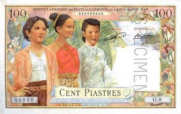 Giấy bạc Đông Dương in hình 3 thiếu nữ với trang phục truyền thống Lào, Campuchia, Việt Nam.
