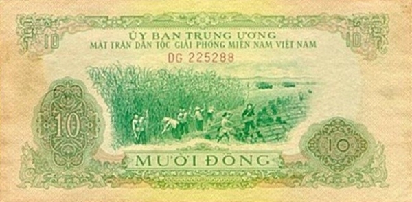 10 đồng in hình vụ thu hoạch mía.