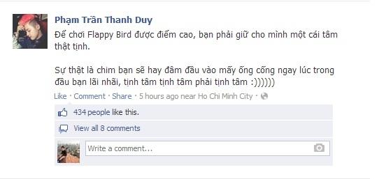 Kinh nghiệm chơi Flappy Bird được Thanh Duy chia sẻ với bạn bè.