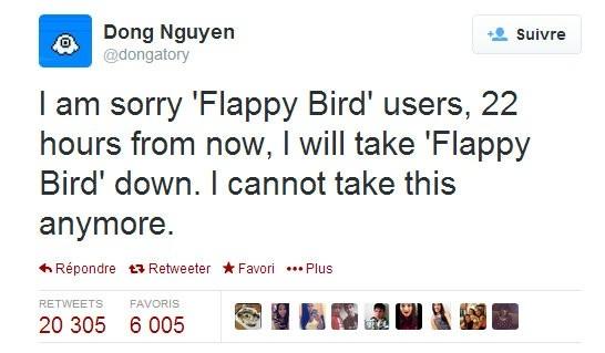 Thông báo hạ Flappy Bird của Nguyễn Hà Đông trên Twitter