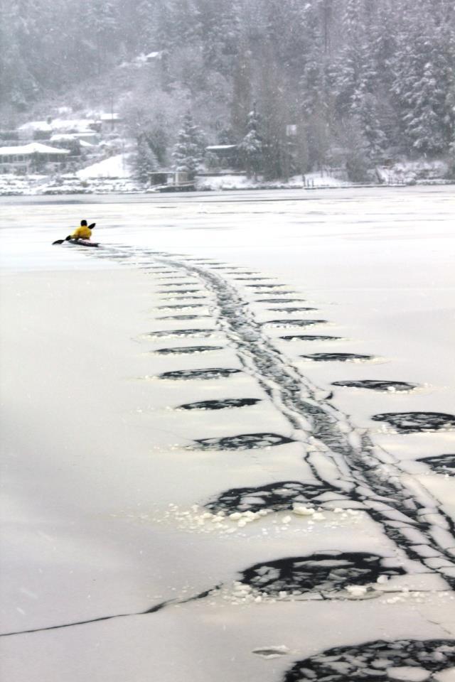 Chèo xuồng kayak trong băng tuyết thế này cũng thật ấn tượng phải không nào