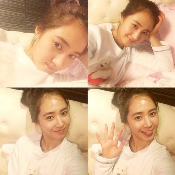 Yuri khoe mặt mộc và gửi lời chúc ngủ ngon tới fan của mình