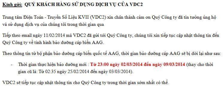 Thông báo từ công ty Viễn thông VDC2