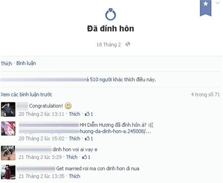 Tuy nhiên, ngày 18 tháng 2, trên tài khoản mạng xã hội của mình, Diễm Hương bất ngờ để trạng thái đã đính hôn khiến cho cư dân mạng và bạn bè của cô rất ngỡ ngàng và tò mò về thông tin này..